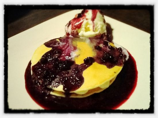 Blueberry Cheese Pancakes (with sliding ice cream) at Sugarush Bandung