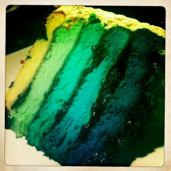 Blueberry Rainbow Cake at Sugarush Bandung! It's big!