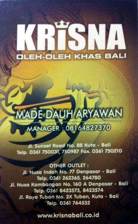 Kartu nama Krisna oleh-oleh khas Bali