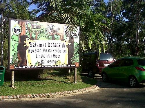Papan tanda kedatangan di Kawasan Wisata Pendidikan Lingkungan Hidup Balikpapan