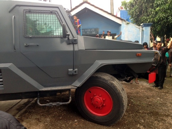 One of the armoured vehicles which arrived on the scene of the raid